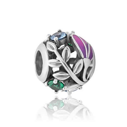 Kotukotu sterling silver, enamel and cubic zirconia charm from Evolve New Zealand