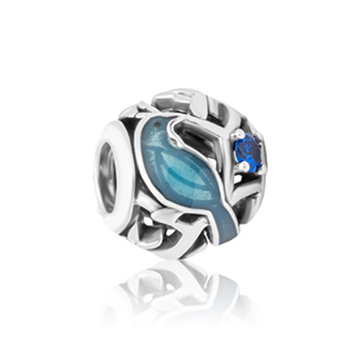 Harakeke flax sterling silver, enamel and cubic zirconia charm from Evolve New Zealand.