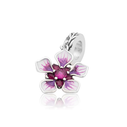 Manuka dangle sterling silver, enamel and cubic zirconia charm from Evolve New Zealand.