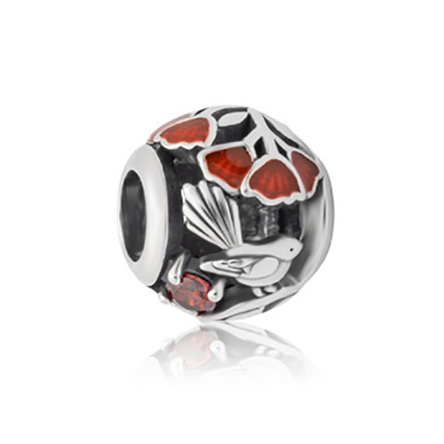 Pohutukawa sterling silver, enamel and cubic zirconia charm from Evolve New Zealand.