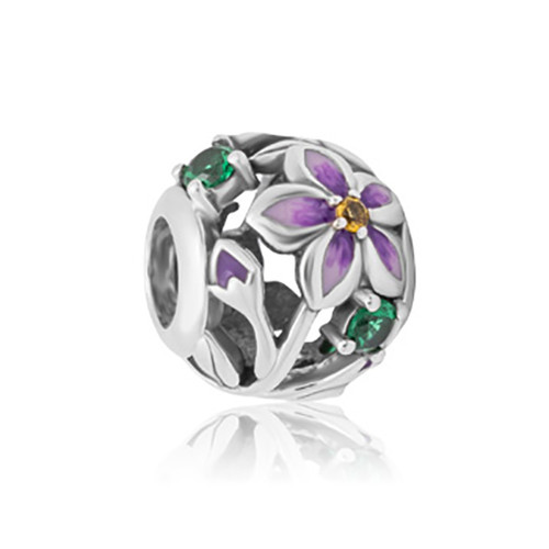 Poroporo sterling silver, enamel and cubic zirconia charm from Evolve New Zealand.
