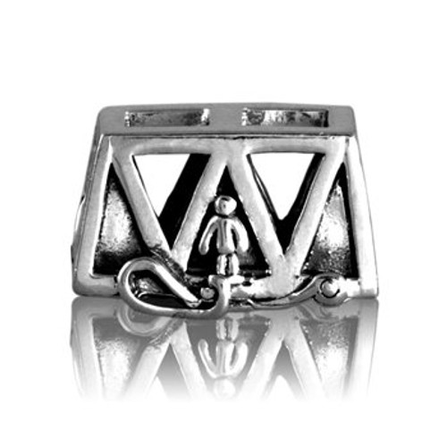 Sterling silver bungy bridge charm from Evolve New Zealand.