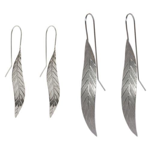 silver leaf earring - large by NZ jewellery designer Nick Feint, Stone Arrow