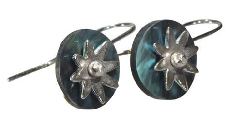 paua daisy disk earrings by NZ jewellery designer Nick Feint, Stone Arrow