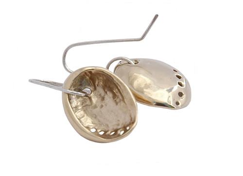 gold plated baby paua earrings by NZ jewellery designer Nick Feint, Stone Arrow