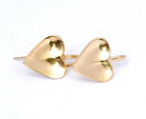 Gold plated heart earrings by NZ jewellery designer Nick Feint, Stone Arrow