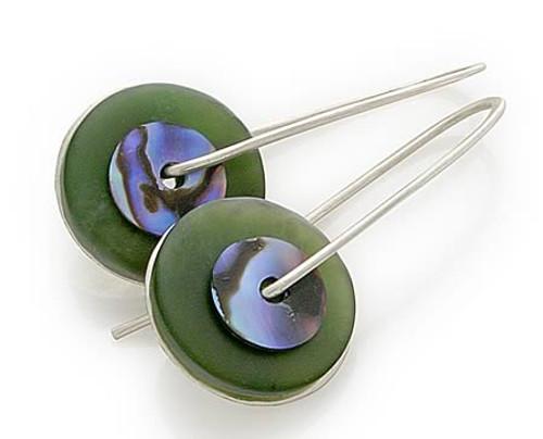 greenstone paua drops - small by NZ jewellery designer Nick Feint, Stone Arrow