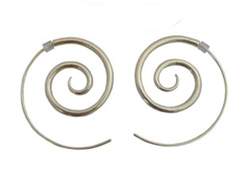silver spiral earrings - large by NZ jewellery designer Nick Feint, Stone Arrow