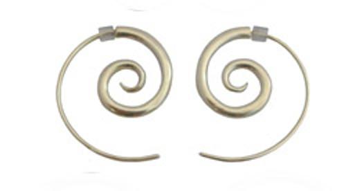silver spiral earrings - medium by NZ jewellery designer Nick Feint, Stone Arrow