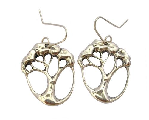 silver pohutukawa earrings by NZ jewellery designer Nick Feint, Stone Arrow