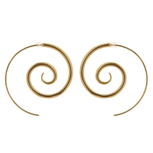 gold plated spiral earrings - large by NZ jewellery designer Nick Feint, Stone Arrow