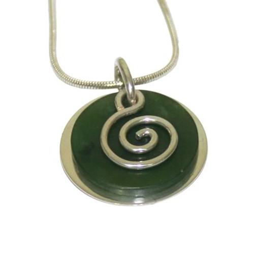 greenstone silver spiral pendant by NZ jewellery designer Nick Feint, Stone Arrow