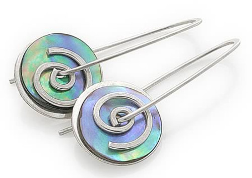 paua and silver spiral drops - small by NZ jewellery designer Nick Feint, Stone Arrow