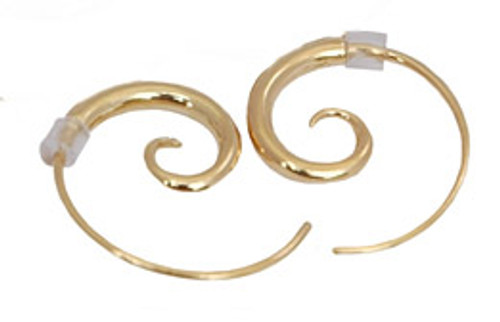 gold plated spiral earrings - small by NZ jewellery designer Nick Feint, Stone Arrow
