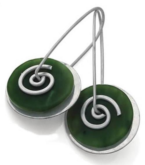 greenstone spiral drops - large by NZ jewellery designer Nick Feint, Stone Arrow