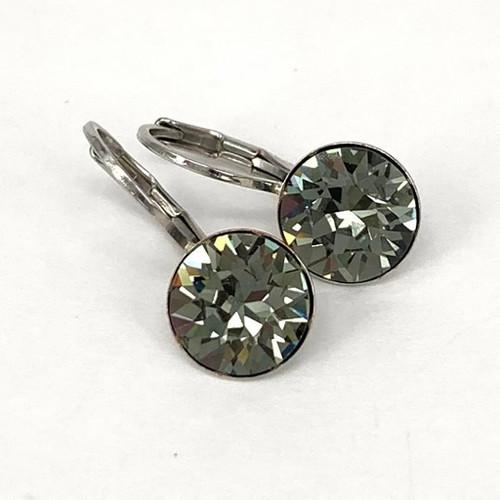 Black diamond coloured silver swarovski crystal loops from Isa Dambeck.