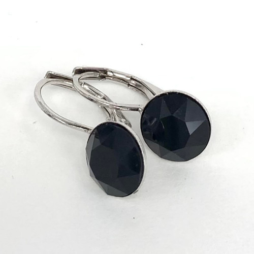 Jet coloured swarovski crystal loop earring, silver plate over tombac,  Isa Dambeck.