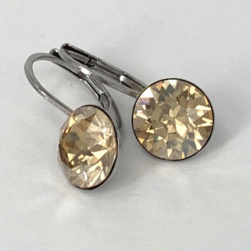 Golden shadow coloured silver swarovski crystal loops from Isa Dambeck.