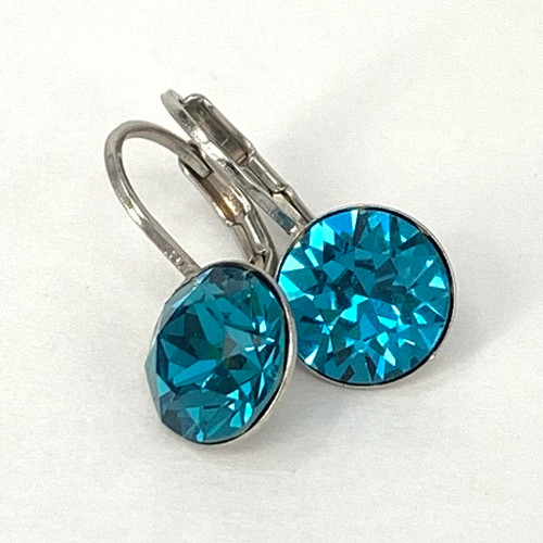 Indicolite coloured silver swarovski crystal loops from Isa Dambeck.