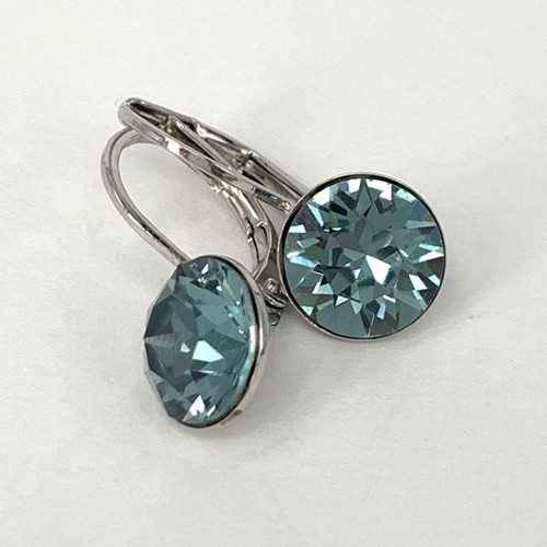 Indian sapphire coloured silver swarovski crystal loops from Isa Dambeck.