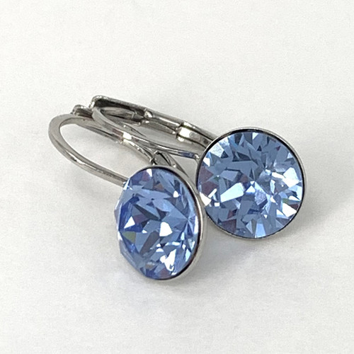 Light sapphire coloured silver swarovski crystal loops from Isa Dambeck.