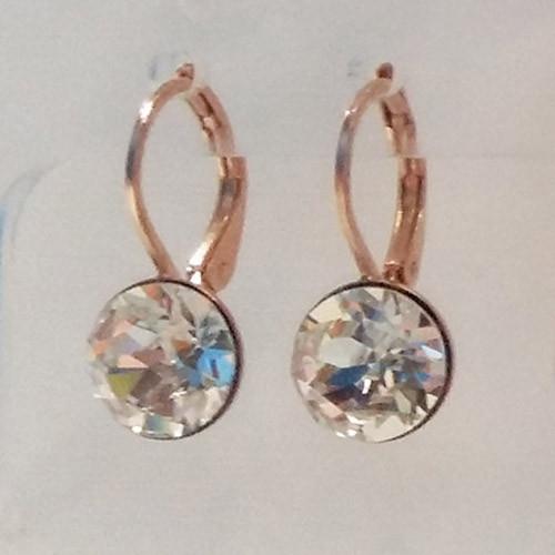 Crystal swarovski crystal rose gold plated loop earrings.