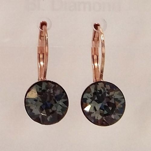 Black diamond coloured rose gold swarovski crystal loops from Isa Dambeck.