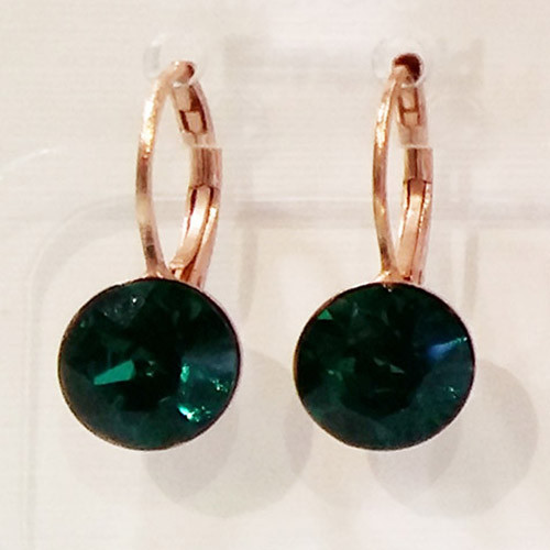 Emerald coloured rose gold swarovski crystal loops from Isa Dambeck.