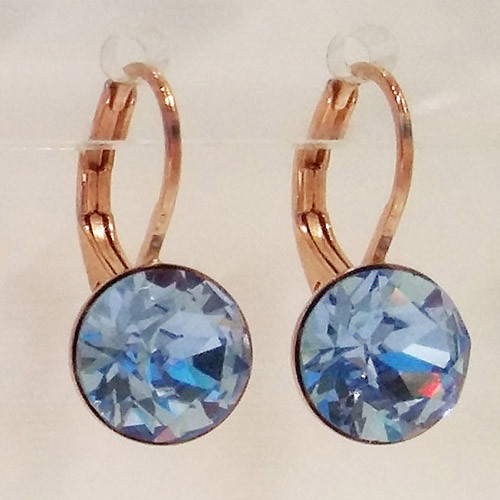 Light sapphire coloured rose gold swarovski crystal loops from Isa Dambeck.