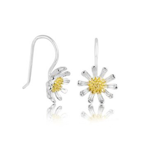 Wild daisy drop earrings in sterling silver and gold from Evolve New Zealand.