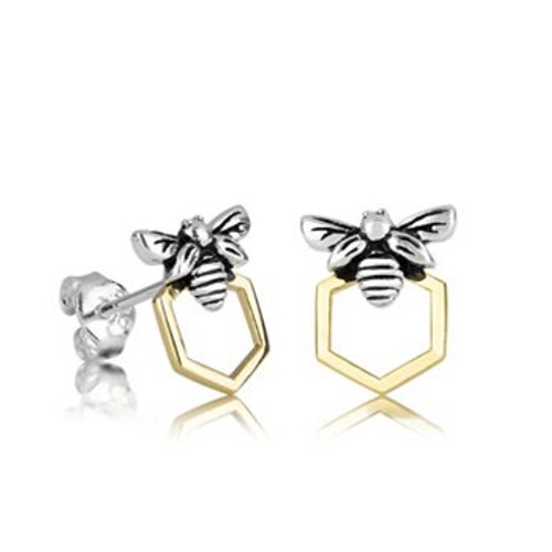 Sterling silver and gold honey bee studs from Evolve New Zealand