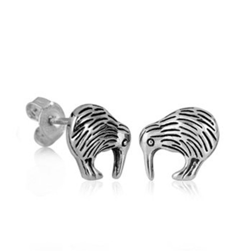 Sterling silver kiwi studs from Evolve New Zealand.