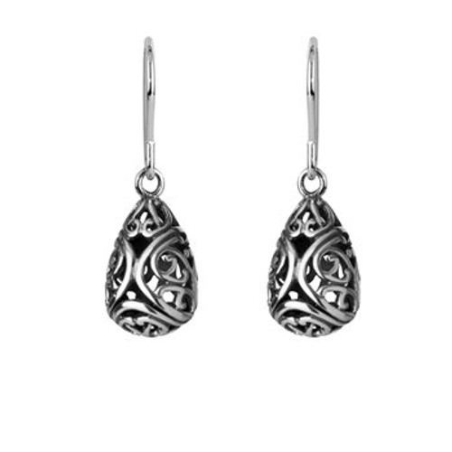 Sterling silver aroha drop earrings from Evolve New Zealand.