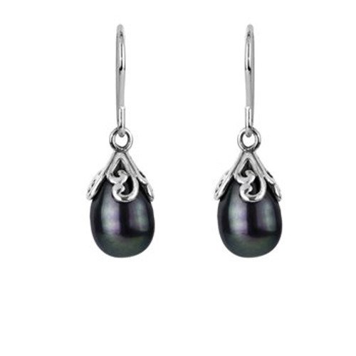 Sterling silver and pearl love drop earrings from Evolve New Zealand.