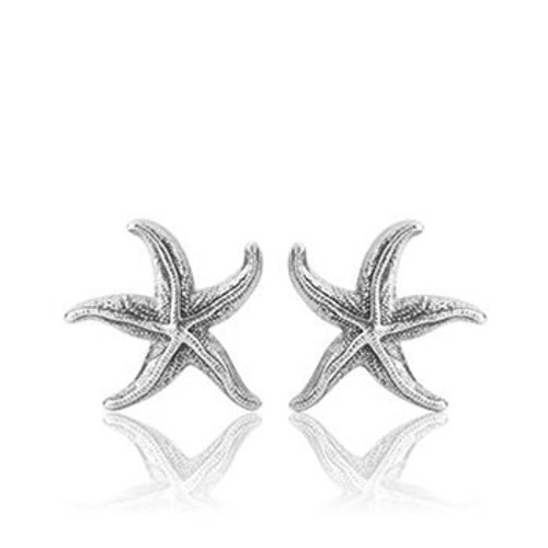 Sterling silver coastal starfish stud earrings from Evolve New Zealand