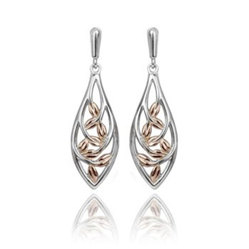 Eternity Forest vine drop earrings in sterling silver and 9ct rose gold from from Evolve New Zealand
