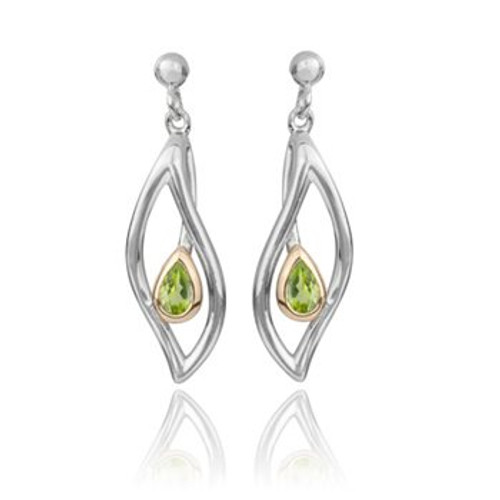 Eternity Leaf sterling silver, gold and peridot drop earrings from from Evolve New Zealand