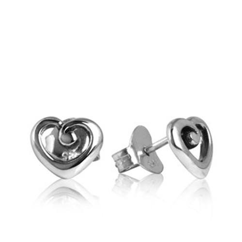 sterling silver heart of NZ stud earrings from Evolve New Zealand
