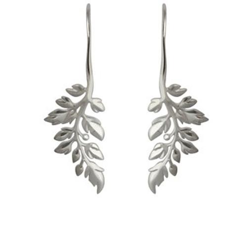 sterling silver treasured fern drop earrings from Evolve New Zealand
