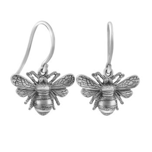 sterling silver bumble bee drop earrings from Evolve New Zealand