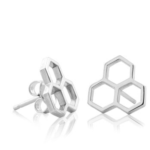 sterling silver honeycomb stud earrings from Evolve New Zealand