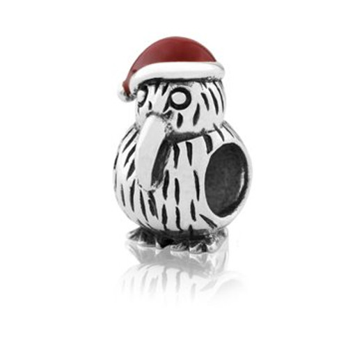 Sterling silver and enamel Christmas kiwi charm from Evolve New Zealand.