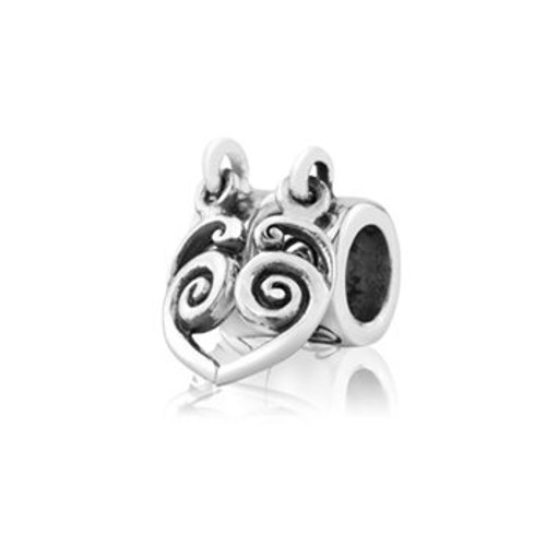 Eternity heart duo sterling silver pendant charm from Evolve New Zealand.