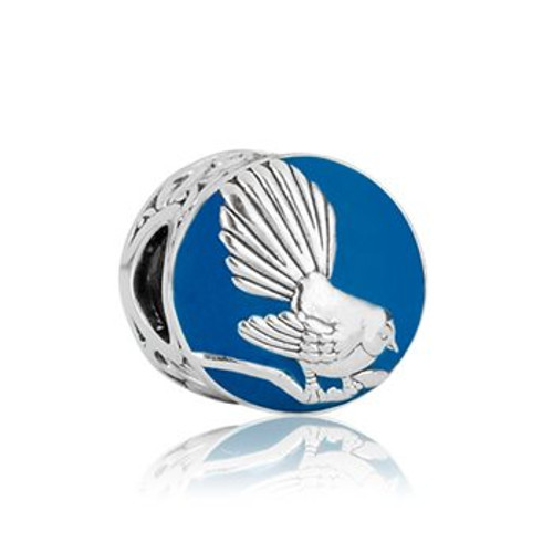 NZ fantail sterling silver and enamel charm from Evolve New Zealand.