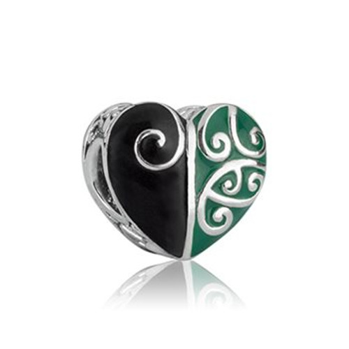Heart of the forest sterling silver and enamel charm from Evolve New Zealand.