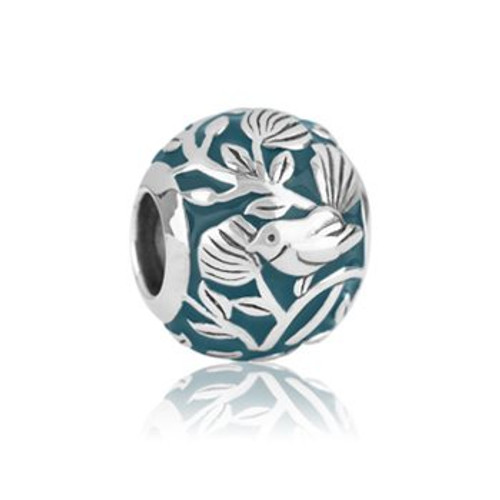 Garden fantail sterling silver and enamel charm from Evolve New Zealand.