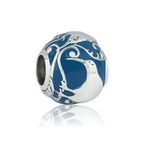 Woodland kiwi sterling silver and enamel charm from Evolve New Zealand.