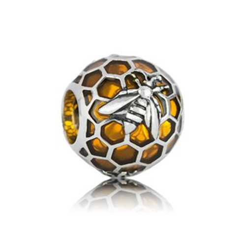 Honey bee sterling silver and enamel charm from Evolve New Zealand.