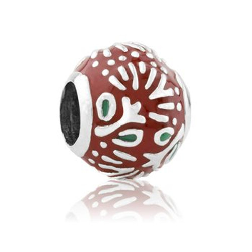 Pohutukawa blossom sterling silver and enamel charm from Evolve New Zealand.