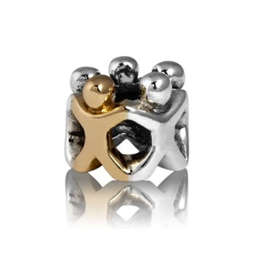 Family circle, whanau, sterling silver and 9ct gold charms from Evolve New Zealand.